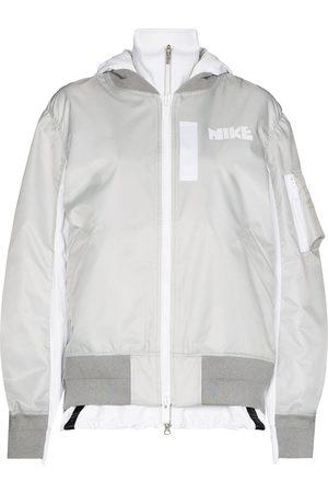 Nike X Sacai layered-detail bomber jacket - Grey