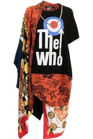 Junya Watanabe Mix-print asymmetric T-shirt dress - Multicolour
