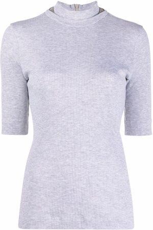 Brunello Cucinelli Women High Necks - High neck knitted top - Grey