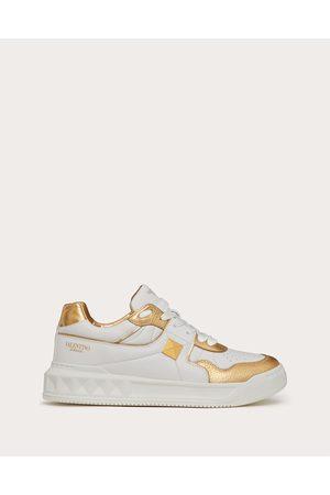 VALENTINO GARAVANI One Stud Low-top Nappa Sneaker With Metallic Details Women /antique Brass 100% Lambskin 36.5