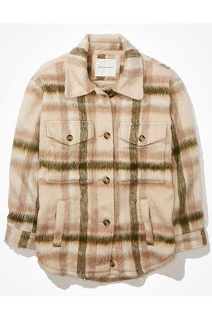 American Eagle Outfitters Brushed Plaid Shacket Women's S
