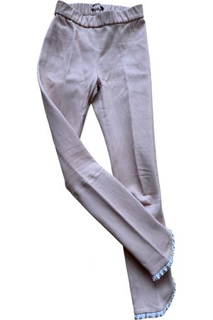 SLY010 Leather slim pants