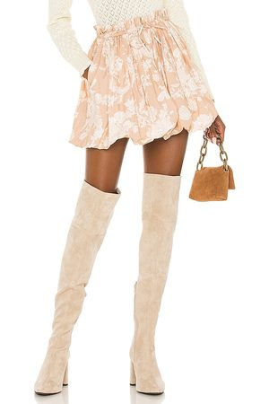 LOVESHACKFANCY X REVOLVE Cheyenne Skirt in Tan.