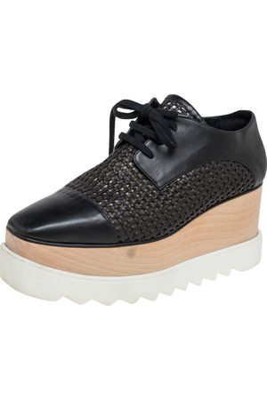 Stella McCartney Women Platform Sneakers - Woven Faux Leather Elyse Platform Derby Sneakers Size 38