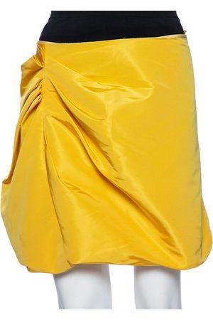 Miu Miu Women Mini Skirts - Silk Gathered Detail Asymmetrical Mini Skirt S
