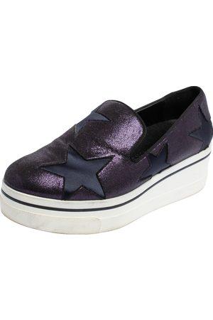 Stella McCartney Metallic Plum/Black Faux Suede and Fabric Binx Star Platform Sneakers Size 38