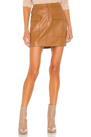 Steve Madden Leather Too Late Skirt in Tan.