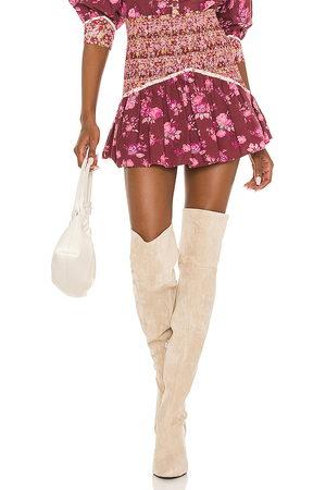 LOVESHACKFANCY X REVOLVE Anguilla Skirt in Wine.