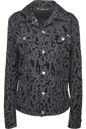 Dolce & Gabbana Charcoal Animal-Print Denim Jacket