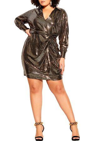City Chic Women Long sleeves - Plus Size Women's City Chi Seqin Glow Wrap Front Long Sleeve Dress