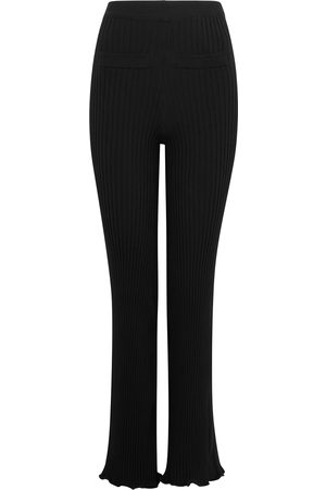 Paco rabanne Women Stretch - Ribbed cotton-stretch trousers