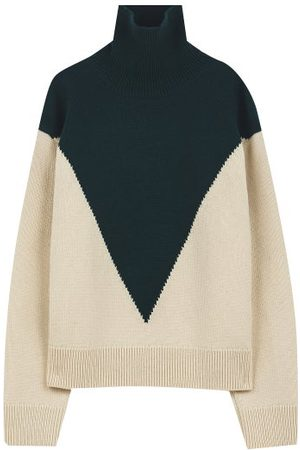 Jil Sander Men Turtlenecks - Colour-block Roll-neck Wool-blend Sweater - Mens - Multi