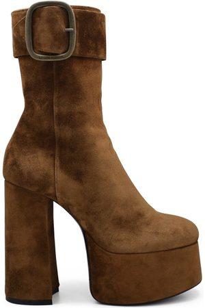 Saint Laurent Women luxury shoes - Billy platform boots in camel suede