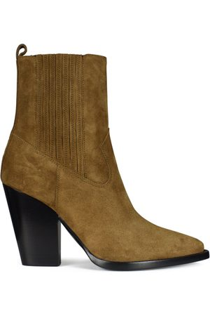 Saint Laurent Women's luxury ankle boots - Theo Chelsea boots in camel suede