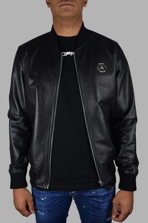Philipp Plein Men's luxury jacket - Bomber jacket in black leather with skull and snake