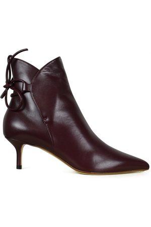 Francesco Russo Women Boots - Women's luxury shoes - Burgundy boots.