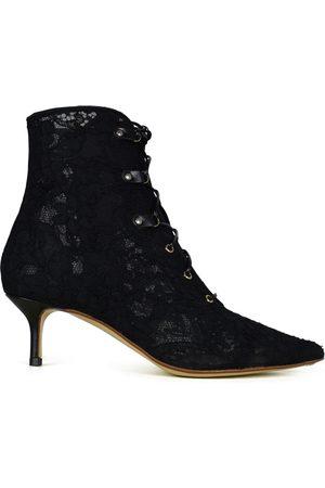 Francesco Russo Women's luxury shoes - Black lace boots.