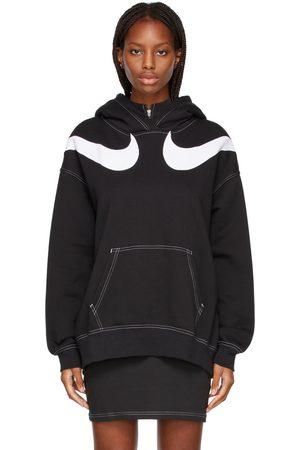 Nike Women Sports Hoodies - Black Sportswear Swoosh Hoodie