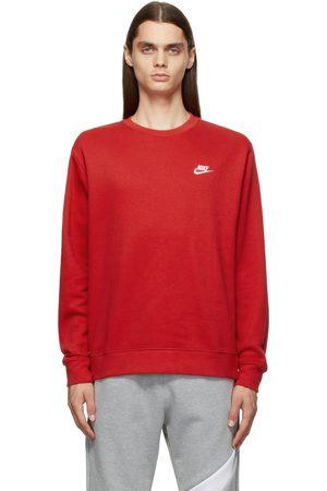 Nike Men Sports Hoodies - Red Sportswear Club Sweatshirt