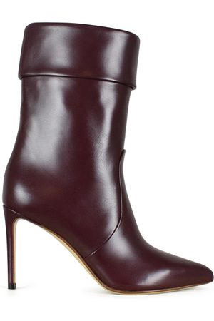 Francesco Russo Women's luxury ankle boots - burgundy leather ankle boots