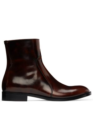 Maison Margiela Burgundy & Black Waxed Boots