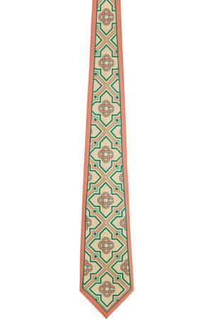 Casablanca Men Neckties - Beige & Pink Silk Monogram Tie
