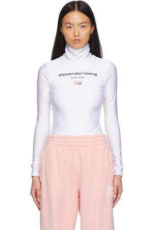 alexanderwang.t Women Bodies - White Active Stretch Logo Bodysuit