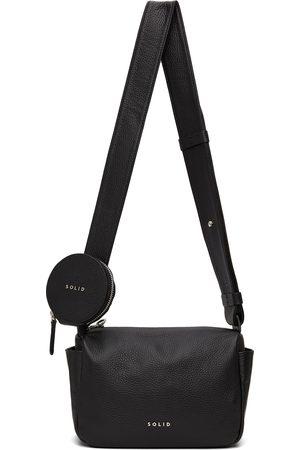 Solid Black Leather Logo Messenger Bag