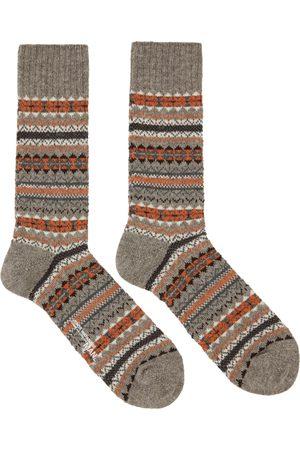 Junya Watanabe Grey & Orange Pattern Socks