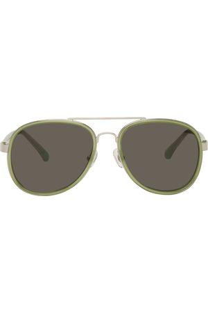 Dries Van Noten Women Aviators - Green & Silver Linda Farrow Edition Aviator Sunglasses