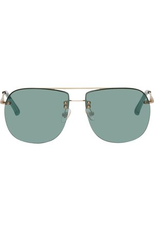 DRIES VAN NOTEN Gold & Blue Linda Farrow Edition Oversize Aviator Sunglasses