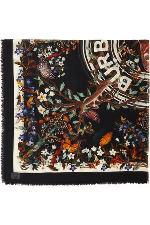 Burberry Multicolor Large Silk Floral Square Scarf