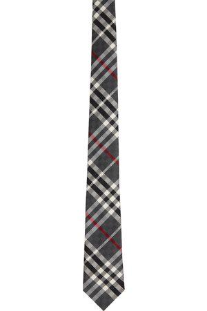 Burberry Grey Silk Check Jacquard Modern Cut Tie