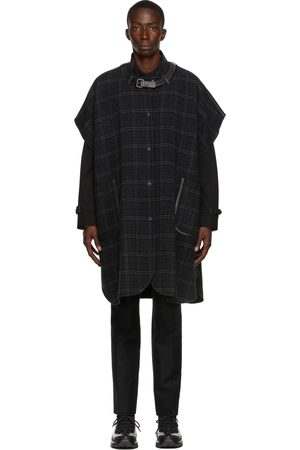 Burberry Gray Wool Cashmere Vintage Check Cape