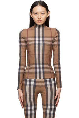 Burberry Brown Stretch Jersey Check Emery Turtleneck