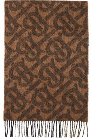 Burberry Brown Cashmere Monogram Scarf