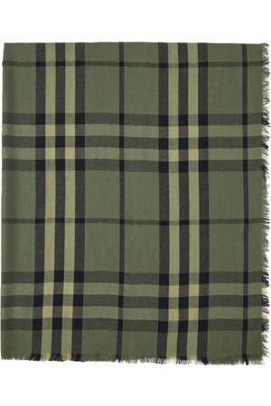 Burberry Green Cashmere Check Scarf