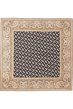 Burberry Beige Silk Paisley Monogram Square Scarf
