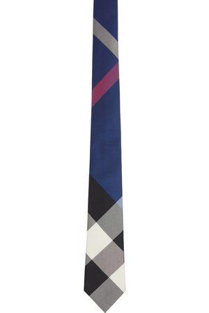 Burberry Navy Silk Check Jacquard Modern Cut Tie