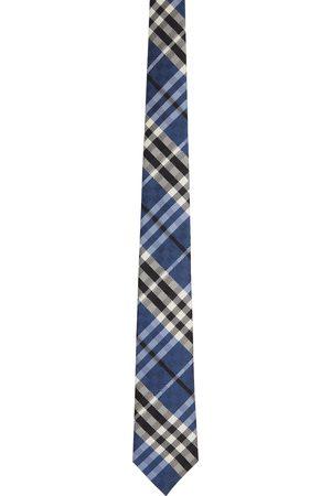 Burberry Blue Silk Check Jacquard Modern Cut Tie