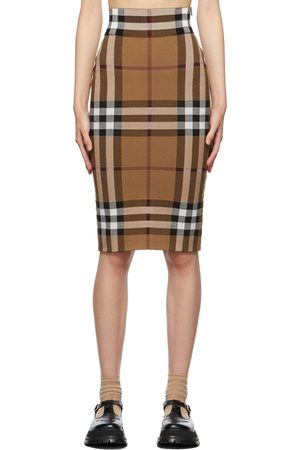 Burberry Brown Jacquard Check Skirt