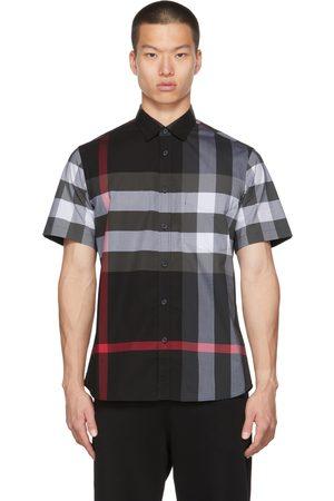 Burberry Men Short sleeves - Grey Poplin Check Stretch Short Sleeve Shirt
