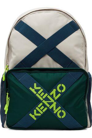Kenzo Men Luggage - Beige & Green Sport Backpack