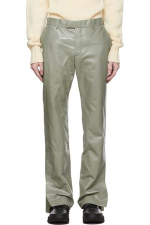 Dunhill Men Leather Pants - Green Leather Zip Trousers