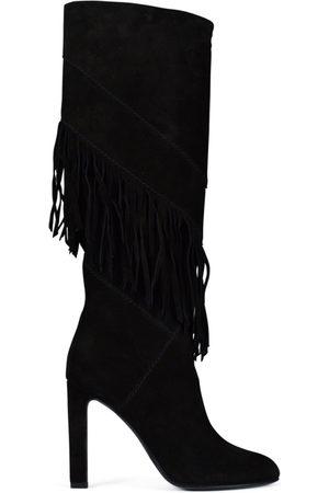 Saint Laurent Luxury shoes for women - Grace black suede boots with fringes