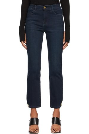 Frame Women High Waisted - Blue Stretch 'Le High Straight' Jeans