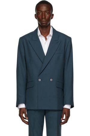 Ernest W. Baker Men Blazers - Blue Wool Double-Breasted Blazer