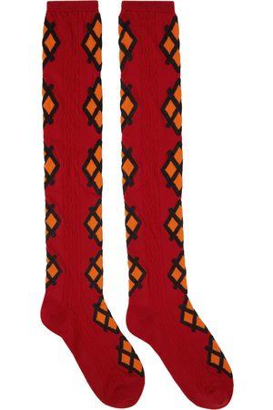 Molly Goddard Women Socks - Red & Orange Jacquard Mica Socks