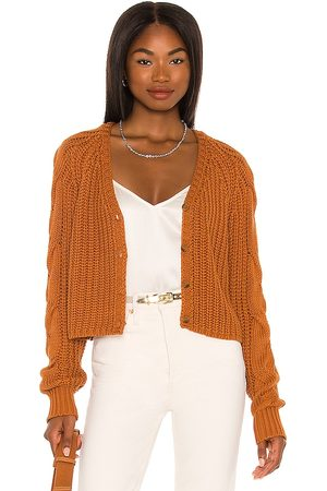 525 America Cardigan with Cable Sleeves in Burnt Orange.