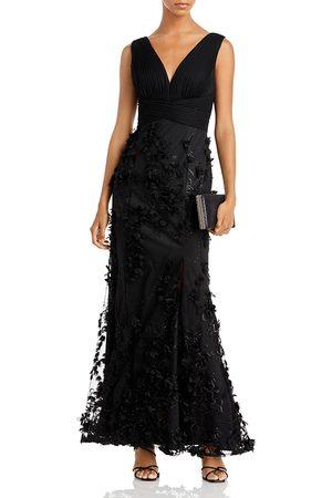 Aidan Mattox Women Printed Dresses - Floral Applique Mermaid Gown - 100% Exclusive